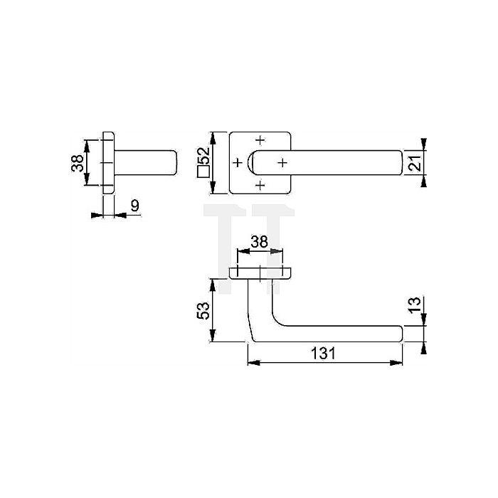 Hoppe Rosetten-Halbgarnitur Dallas E1364Z/52 PZ VK 8mm Stift 42mm vorstehend VA