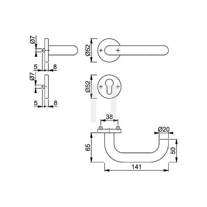 Hoppe Rosetten-Halbgarnitur Paris E138Z/42/42S PZ VK 8mm VA F69 f. Kombischutz