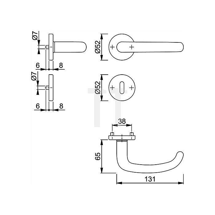 Hoppe Rosetten-Wechselgarnitur San Francisco E58/42KV/42KVS/1301Z PZ VK 8mm VA F69