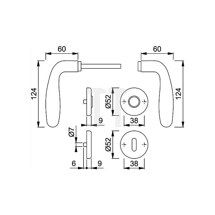 Hoppe Rosetten-Wechselgrt. Cardiff E48/17KV/17KVS/1850Z PZ VK 8mm Rückholfeder VA F69
