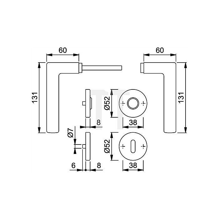 Hoppe Rosetten-Wechselgrt. Stockholm E1140Z/302 PZ Entf. 72mm VK 8mm