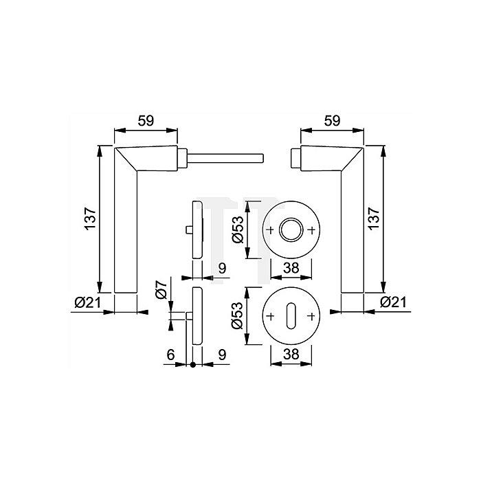 Hoppe Rosetten-WG Amsterdam 1400/42KV/42KVS PZ VK 8mm Alu F1 SST