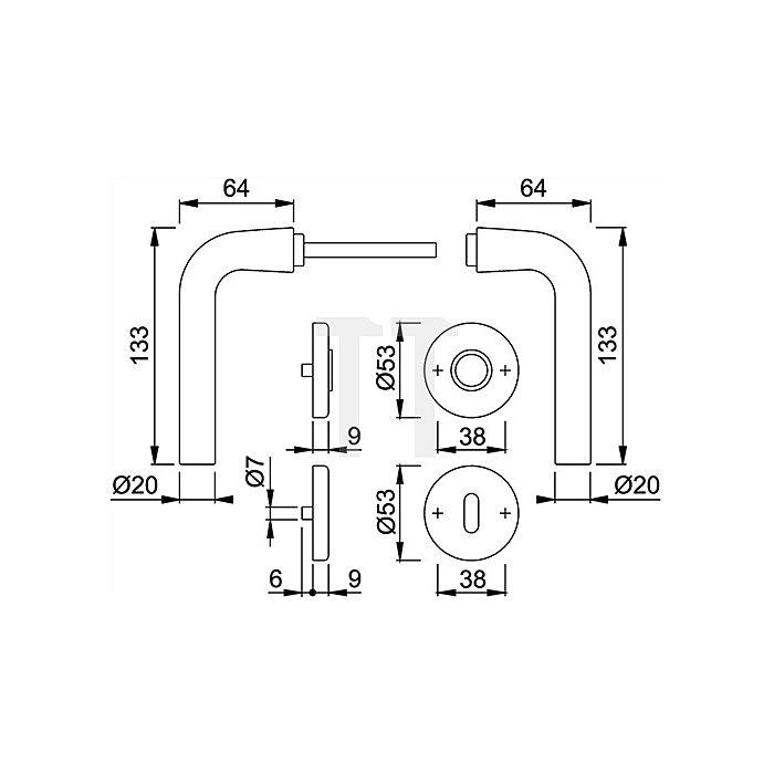Hoppe Rosetten-WG Bonn 150/42KV/42KVS PZ VK 8mm Alu F1 SST mit Rückholfeder