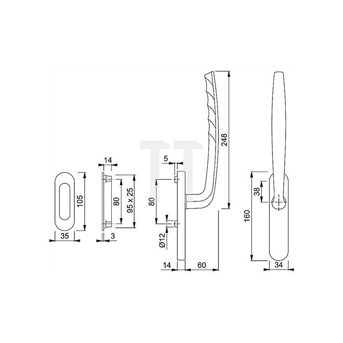 Hoppe Schiebe-/Kipptürgriff New York HS-0810/431N/422 ungelocht VK 10mm Alu F1