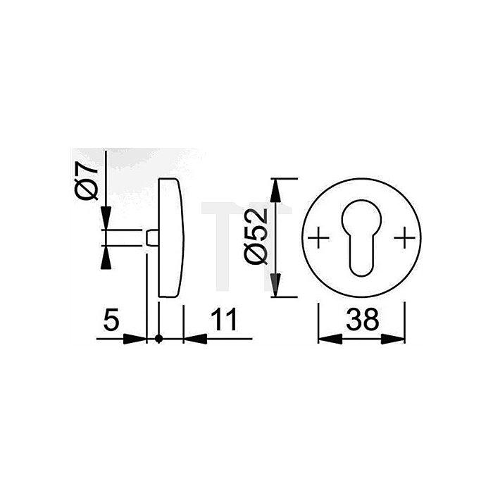 Hoppe Schlüsselrosette 19S PZ Alu. F1 natur 1 St. f. Innenseite