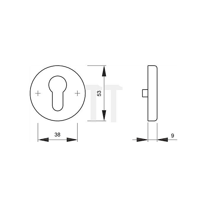 Hoppe Schlüsselrosette 42KVS PZ Durchmesser 53mm Stärke 9mm Alu F1 naturfarbig