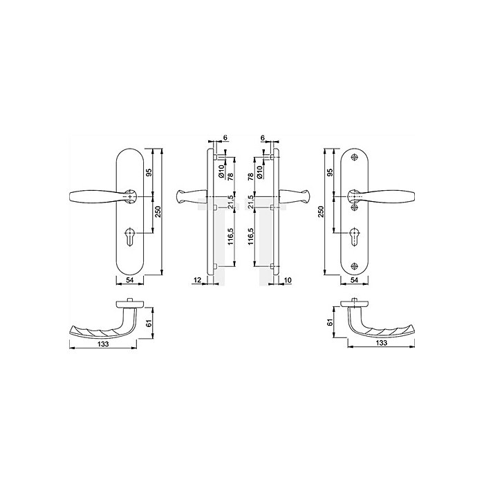 Hoppe Schutz-Drückergarnitur New York 1810H/3331/3410 Lochung PZ Entf. 72mm Alu F1
