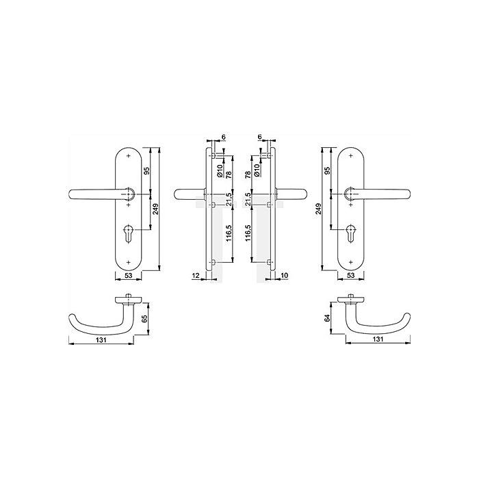 Hoppe Schutz-Drückergarnitur San Francisco E1301Z/3331/3310 PZ VK 10mm Entf. 92mm VA