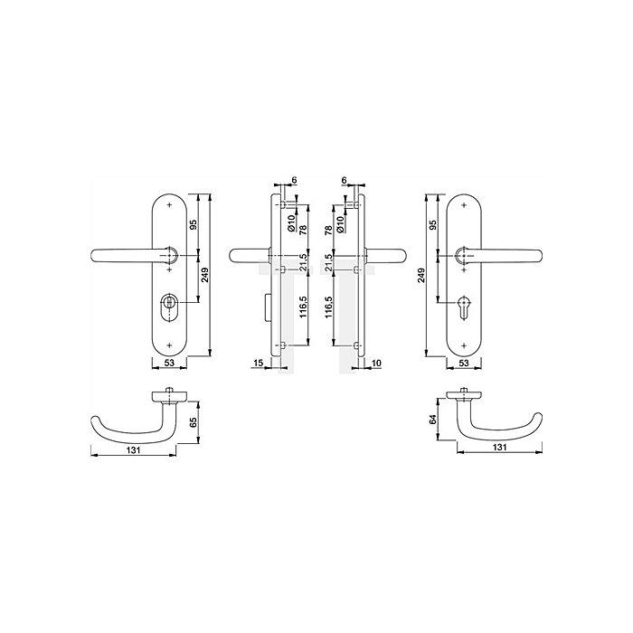 Hoppe Schutz-Drückergarnitur San Francisco E1301Z/3332ZA/3310 PZ ZA VK 10mm Entf. 92mm