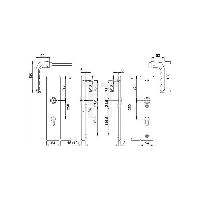 Hoppe Schutz-Drückergrt. London 54/2222A/2440/113 ES0 PZ VK 10mm Entf. 92mm F1