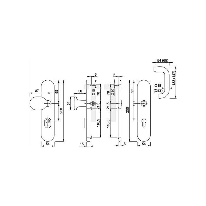 Hoppe Schutz-Drückergrt. Paris E138Z/3332ZA/3330 PZ Entf. 92mm VK 10mm Langschild