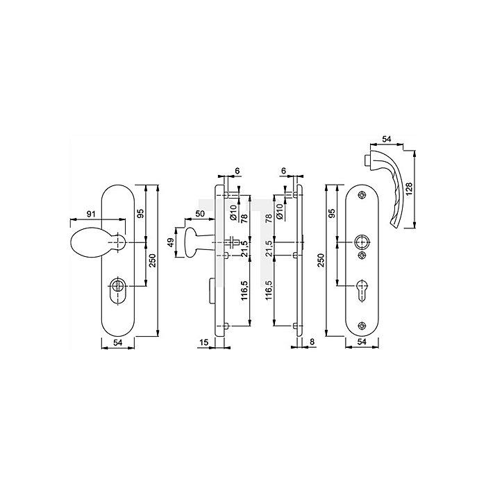 Hoppe Schutz-Drückergrt. Tokyo 76G/3332ZA/3440/1710 ES1 (SK2) PZ ZA Entf. 92mm VK 10mm