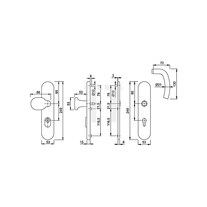 Hoppe Schutz-Drückergrt.Bilbao E1365Z/3332ZA/3330 ES1 SK2 PZ VK10mm Entf.92mm