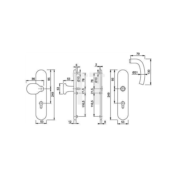 Hoppe Schutz-Drückergrt.Bilbao E86G/3331/3330/1365Z ES1 SK2 PZ VK10mm Entf.92mm