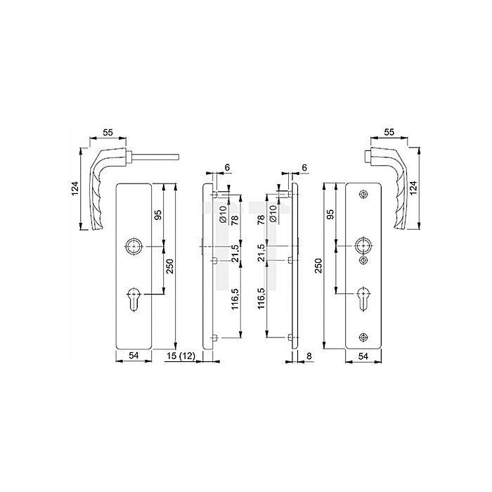Hoppe Schutz-Drückergrt.Birmingham SK1 54/2221A/2440/1117 ES0 PZ VK10mm Entf.92mm F1