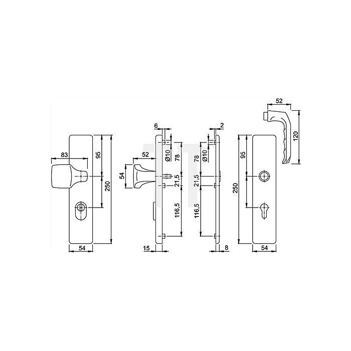 Hoppe Schutz-Drückergrt.London 61G/2222ZA/2220/113 ES1 SK2 PZ VK10mm Entf.92mm