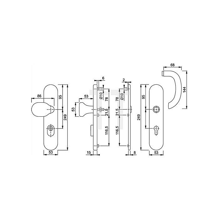 Hoppe Schutz-Drückergrt.Marseille SK1 76G/3332ZA/3440/1138 ES1 PZ VK8mm Entf.72mm ZA