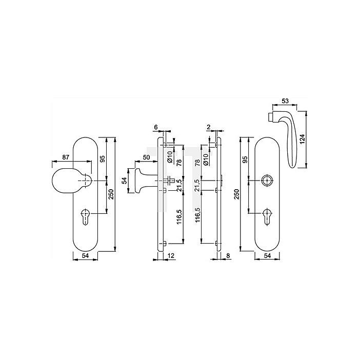 Hoppe Schutz-Drückergrt.Verona 86G/3331/3330/1510 ES1 SK2 PZ VK10mm Entf.92mm