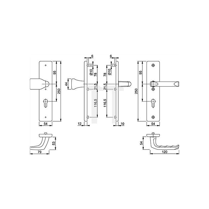 Hoppe Schutz-Wechselgarnitur London 78G/2221/2440/113 ES1 PZ Entf. 72mm VK 8mm Alu F1