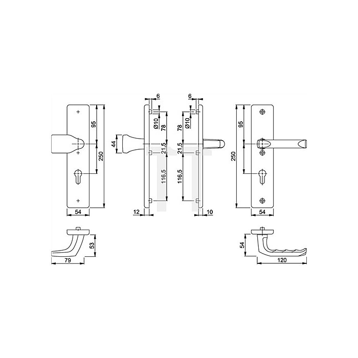 Hoppe Schutz-Wechselgarnitur London 78G/2221/2440/113 ES1 PZ Entf. 72mm VK 8mm Alu F4