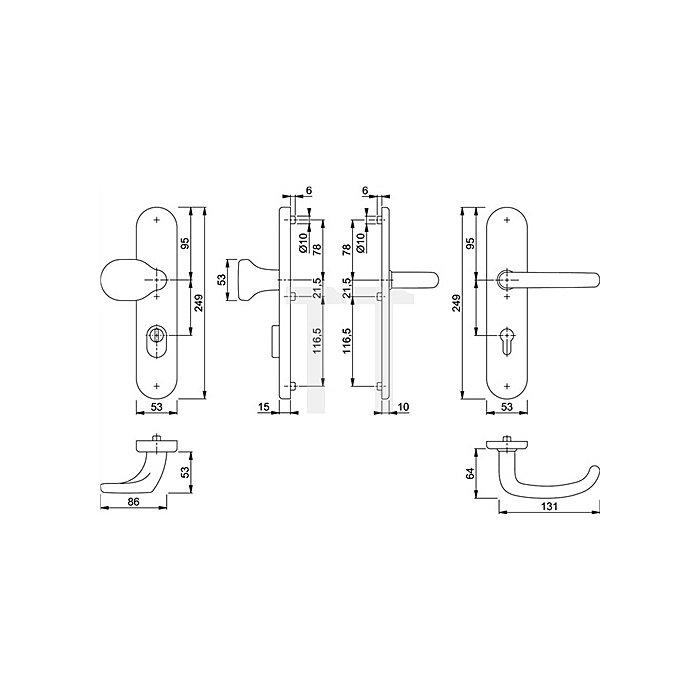 Hoppe Schutz-Wechselgarnitur San Francisco E86G/3332ZA/3310/1301Z PZ ZA VK 8mm
