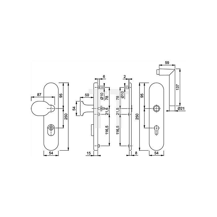 Hoppe Schutz-Wechselgrt. Amsterdam SK2 E86G/3332ZA/3330/1400Z PZ Entf. 92mm VK 10mm