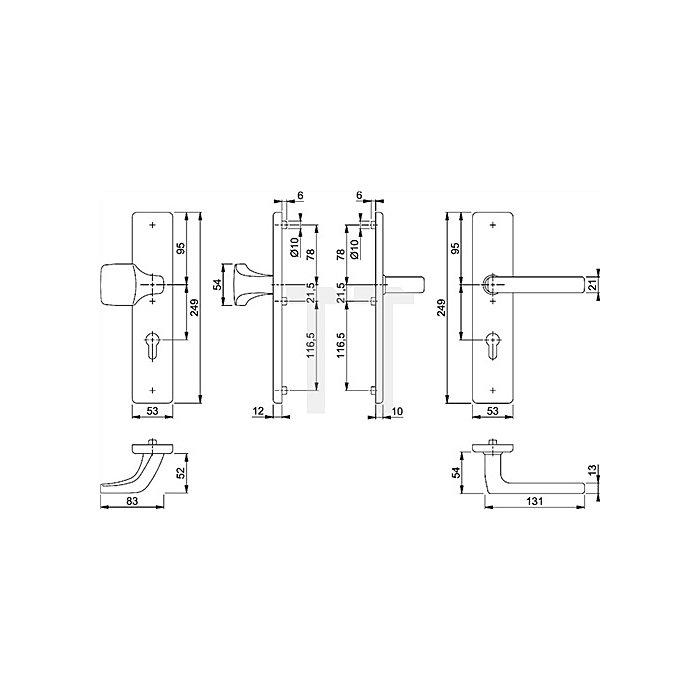 Hoppe Schutz-Wechselgrt. Dallas E61G/2222/2210/1643 PZ Entf. 92mm VK 10mm TS 67-72mm