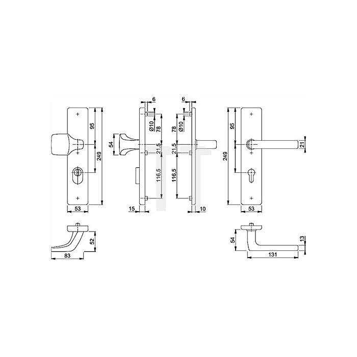 Hoppe Schutz-Wechselgrt. Dallas E61G/2222ZA/2210/1643 PZ Entf. 92mm VK 10mm TS 67-72mm