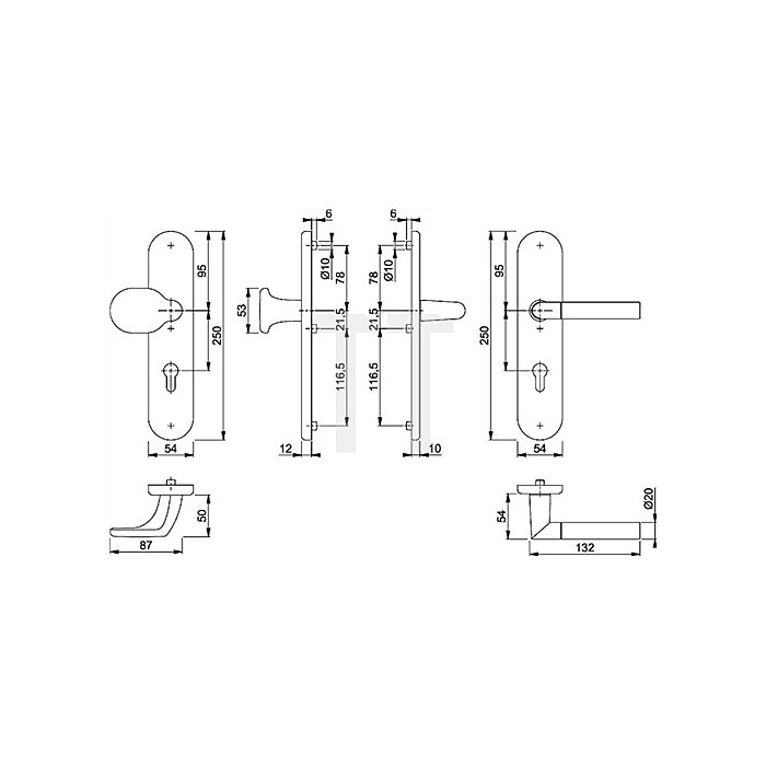Hoppe Schutz-Wechselgrt. Lecce 86/3331/3310/1405 ES1 PZ Entf. 72mm VK 8mm TS 37-42mm