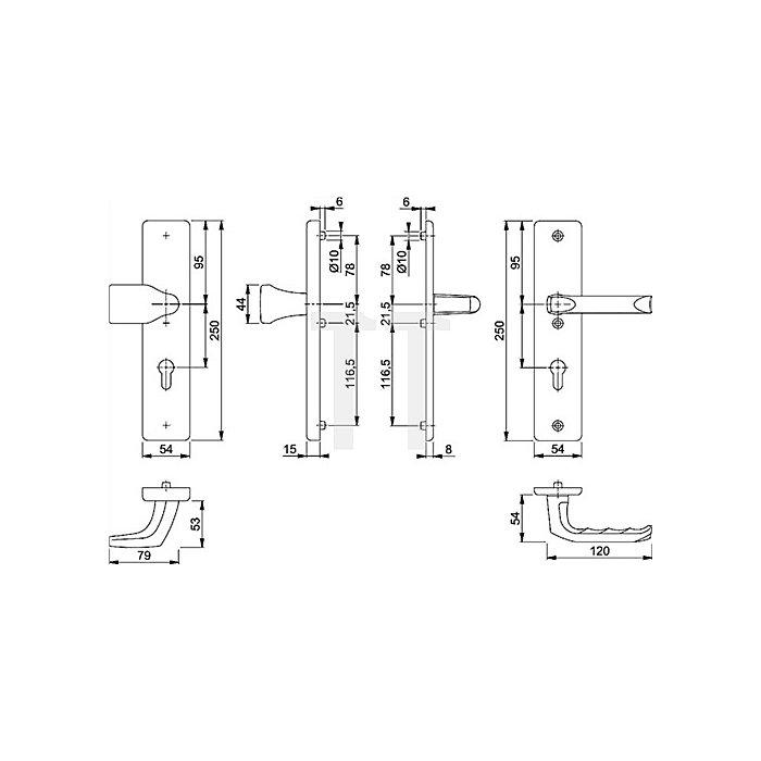 Hoppe Schutz-Wechselgrt. London 78G/2222A/2440/113 ES0 PZ Entf. 72mm VK 8mm Alu. F1