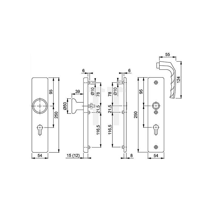 Hoppe Schutz-Wechselgrt.London 54/2222A/2440/113 ES0 PZ VK8mm Entf.72mm Langschild