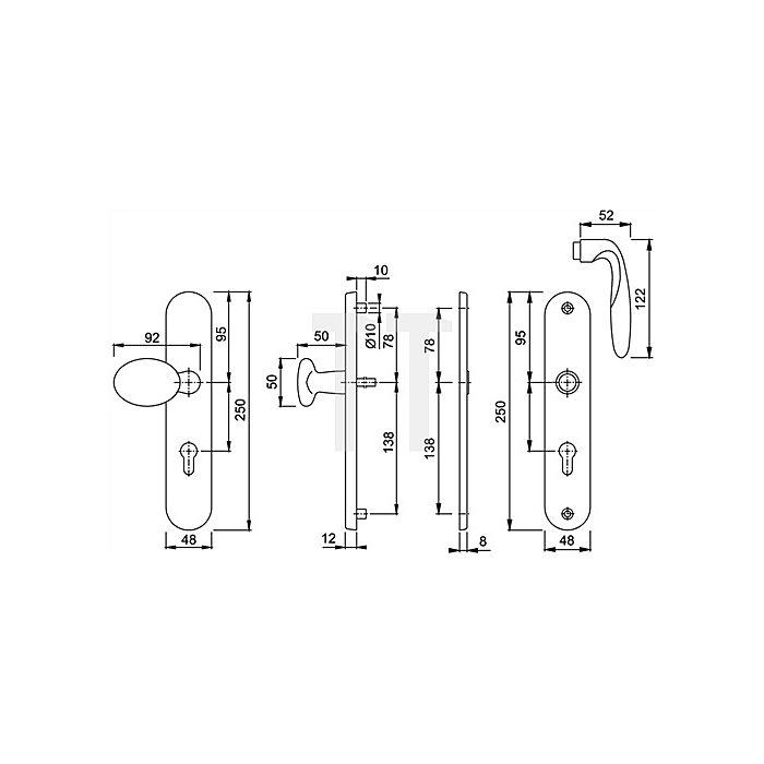 Hoppe Schutz-WG.Pisa M76G/361A/360/151 ES1 SK2 PZ VK10mm Entf.92mm Langschild Ms pol.