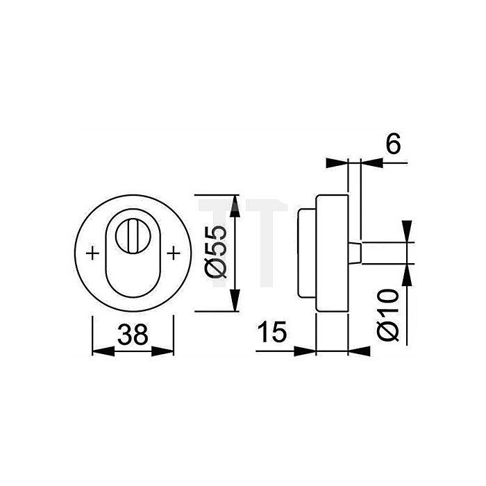 Hoppe Schutzrosette 42NSB-ZA PZ ZA Alu. F1 natur TS 67-72mm 1 St. f. Innenseite