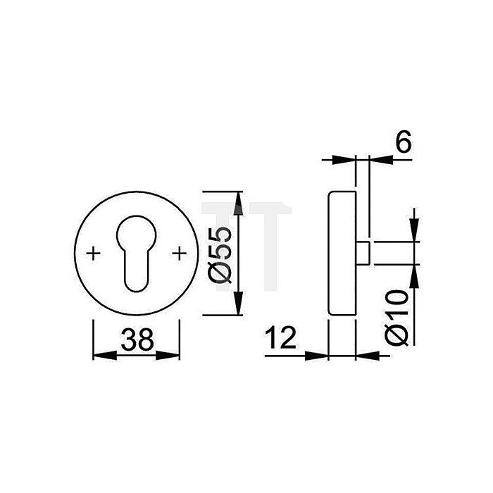 Hoppe Schutzrosette-Paar E42NSA/42S SKO PZ TS67-72mm VA F69 matt