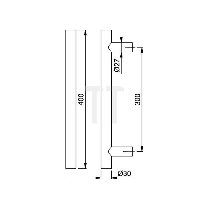 Hoppe Stangengriff E5011 Außenmaß 400mm Achsmaß 300mm VA F69 matt D. 30mm