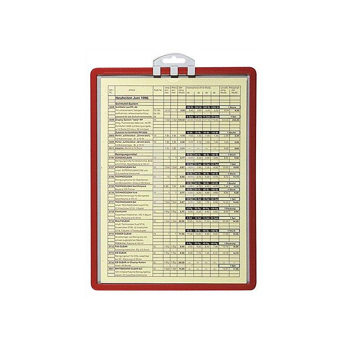Infotafel m.Aufhängung DINA4 PP-Rahmen rot 5St./VE reflexionsarm