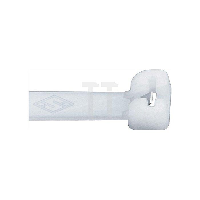 Kabelbinder L.140mm B.3,5mm Bündel-D.36mm Farbe natur m.Stahlnase PA SEPI SELCO