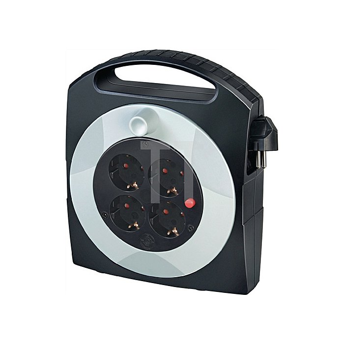 Kabelbox Ku. Kabel-L.15m 4xSchuko rot-sw H05VV-F 3x1,5mm2 m.Thermoschutz