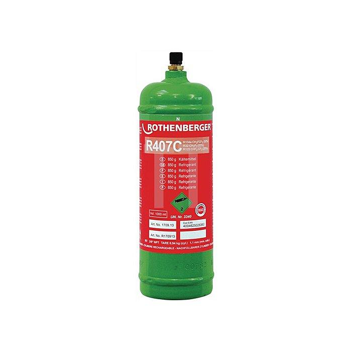 Kältemittel R407C 1 l-Stahlflasche nicht chloriert HFC Rothenberger