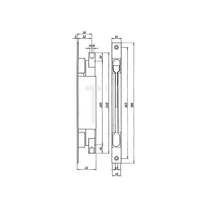 Kantriegel 9221 Stulplänge 285mm Stulpbreite 22mm Stahl galv.verz. Hub 20mm