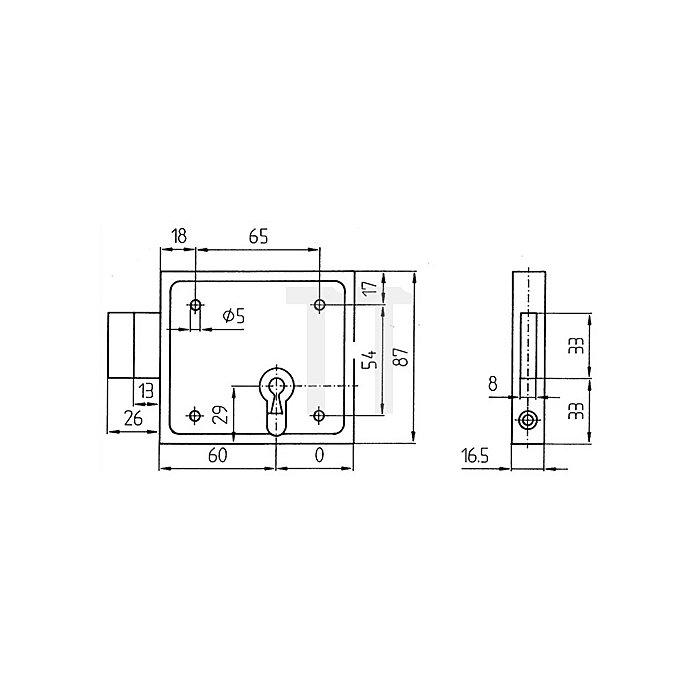 Kastenriegelschloss z.Aufschrauben BB Dorn 60mm B.100mm H.87mm T.16,5mm