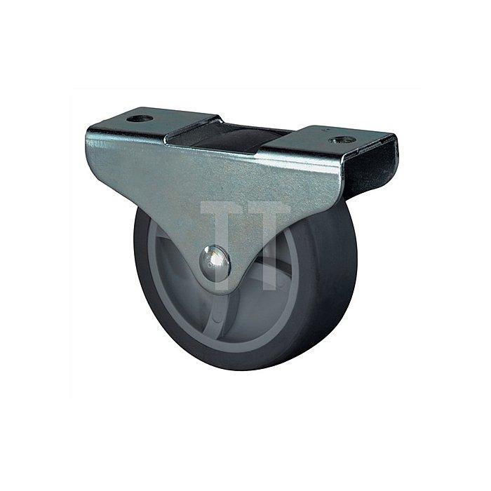 Kastenrolle Durchmesser 25mm Bauhöhe 29mm Gummirad schwarz für harte Böden