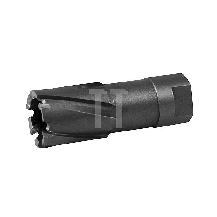 Kernbohrer Tecrona beschichtet mit Hartmetallschneiden und Gewindeaufnahme. Ø 22 mm