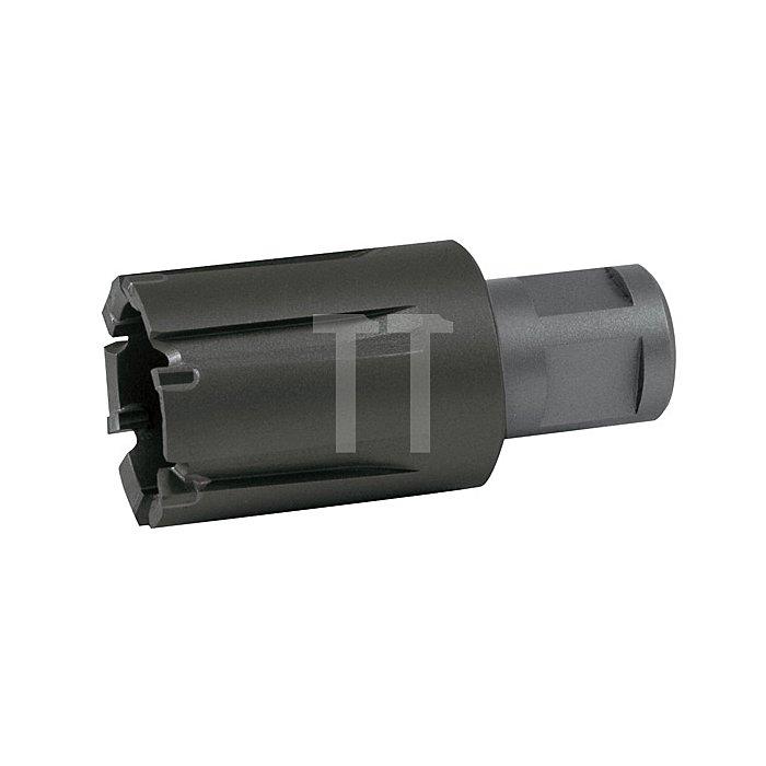 """Kernbohrer Tecrona beschichtet mit Hartmetallschneiden und Weldonschaft (3/4"""") für Eisenbahnschienen. Ø 27 mm"""