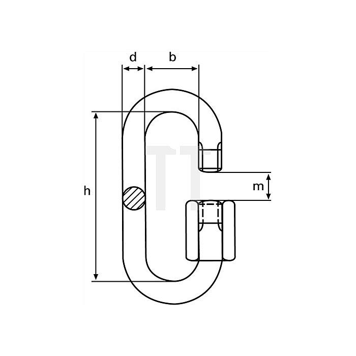 Kettenschnellverschlüsse Gr.10 Eisen galv.verz.Innen-W.20mm Innen-H.70mm