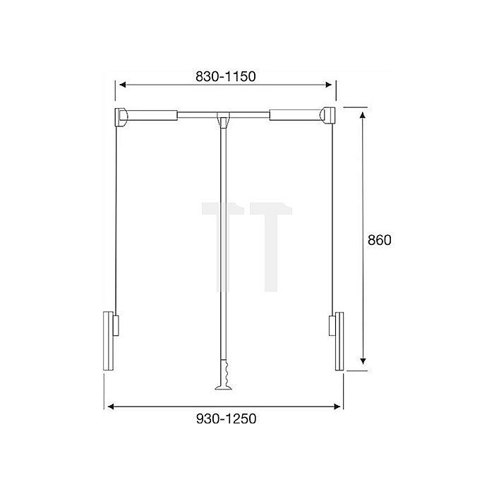 Kleiderlift, 850-1100mm, Stahl, silbergrau, 18kg