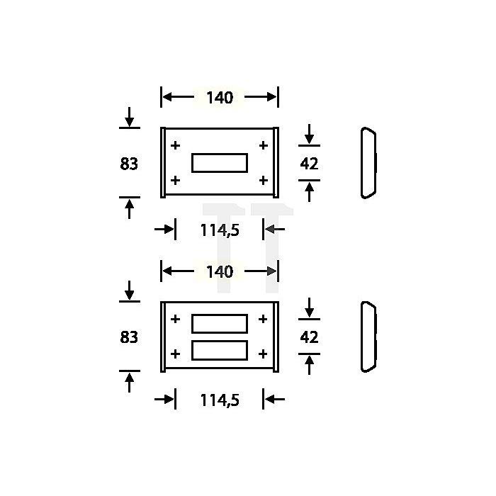 Klingelplatte 3864 eckig B.140mm H.83mm 1-teilig VA feinmatt 6204