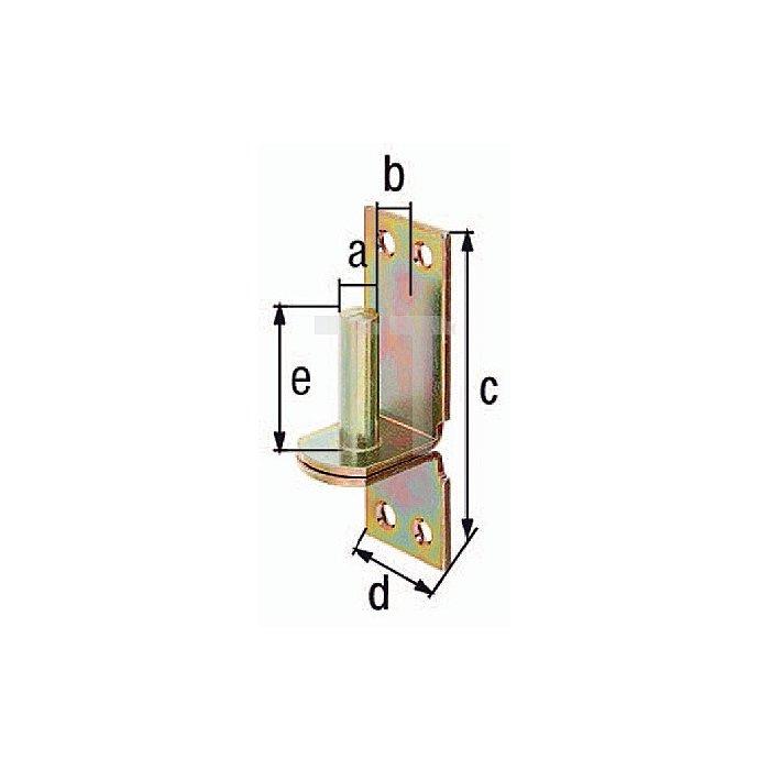 Kloben auf Platte Ø13x11x100x35x40mm Stahl roh galv. gelb verz. DI-Haken GAH