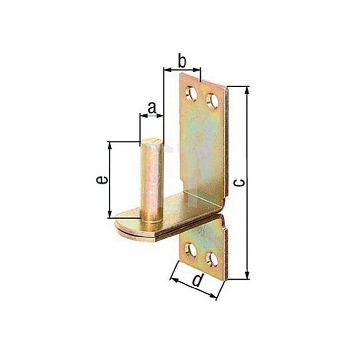 Kloben auf Platte Ø13x25x100x35x40mm Stahl roh galv. gelb verz. DII-Haken GAH