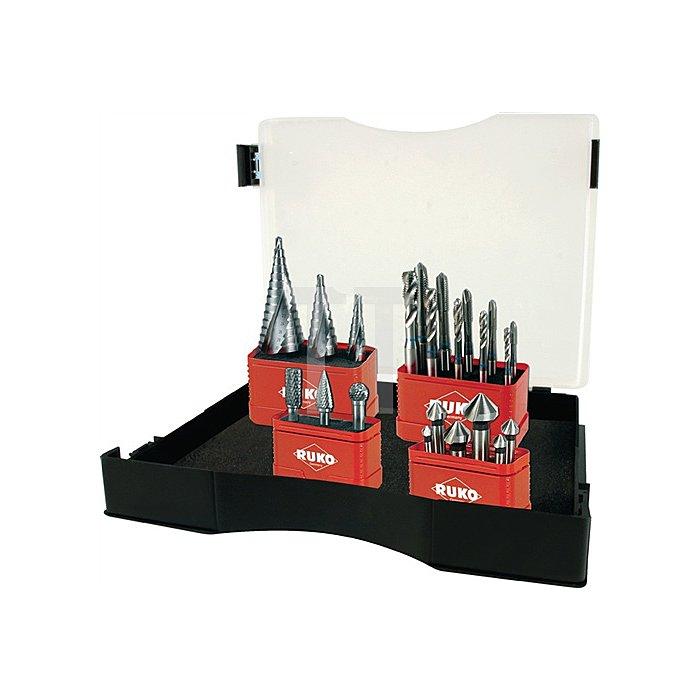 Koffersatz Metallbearbeitung 22tlg. HM-Frässtifte, MGB, Stufenbohrer, Senker